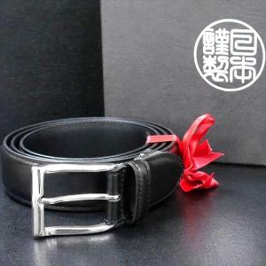 日本謹製メンズベルト ショルダー革 タンニンなめし ブラック 135200-10 ギフト プレゼント|zennsannnet