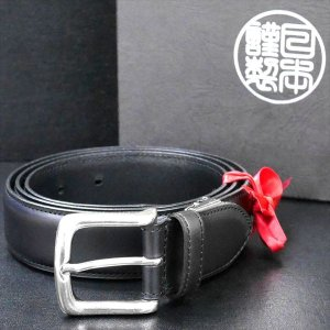 日本謹製メンズベルト 牛革 オイル加工スムース仕上げ ブラック 135201-10 ギフト プレゼント|zennsannnet