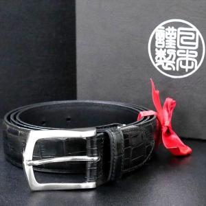 日本謹製メンズベルト 牛革 型押しクロコ 艶出し仕上げ ブラック 135202-10 ギフト プレゼント|zennsannnet