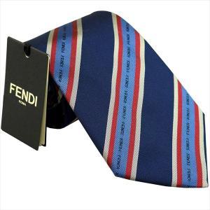 フェンディ ネクタイ FENDI イタリー製 シルク100% ネイビーxレッド系 4WV-F0QB0|zennsannnet