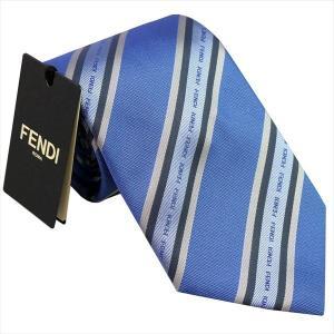 フェンディ ネクタイ FENDI イタリー製 シルク100% ブルー系 4WV-F0TY2|zennsannnet