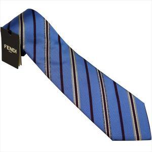 フェンディ ネクタイ FENDI イタリー製 シルク100% ブルー系 4WX-F0TY2|zennsannnet