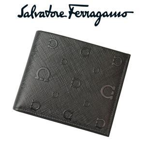 フェラガモ salvatore ferragamo メンズ二つ折れ財布 小銭入れ付き 66-9296-01-0515920 NERO ブラック 並行輸入品|zennsannnet