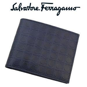 フェラガモ salvatore ferragamo メンズ二つ折れ財布 小銭入れ付き 9685-01-572514 ネイビーxレモンイエロー 並行輸入品|zennsannnet