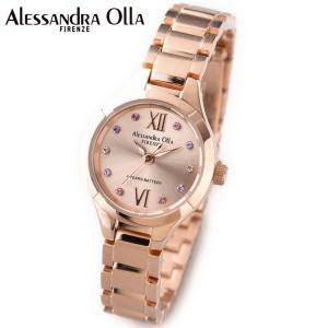 アレサンドラ・オーラ レディス腕時計 ピンクゴールド カラーラインストーンインデックス AO-335-1|zennsannnet