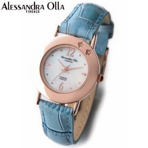 アレサンドラ・オーラ レディス腕時計 alessandra olla  白蝶貝文字盤 AO-6950BL ブルーベルト zennsannnet