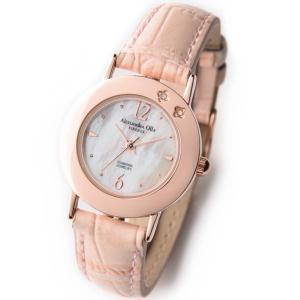 アレサンドラ・オーラ レディス腕時計 alessandra olla  白蝶貝文字盤 AO-6950 ピンクベルト zennsannnet