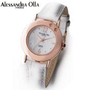 アレサンドラ・オーラ レディス腕時計 alessandra olla  白蝶貝文字盤 AO-6950 ホワイトベルト zennsannnet