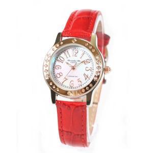 アレサンドラ・オーラ レディス腕時計 alessandra olla  白蝶貝文字盤 AO1750RD レッドベルト zennsannnet