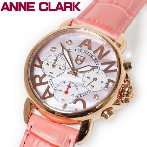 ANNE CLARK アンクラーク 赤針クロノグラフ レディス腕時計 天然シェル文字盤 AU1033-17PG ギフト プレゼント|zennsannnet