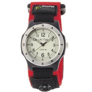 カクタス キッズ腕時計 CACTUS 子供用時計 コンパス付き 100m防水 CAC65-M07 レッドベルト ギフト プレゼント 記念品 誕生日 zennsannnet
