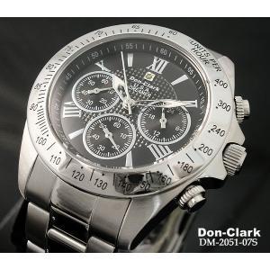 メンズ腕時計 ダンクラーク DON CLARK クロノグラフ 100m防水 ダイヤ入り DM2051-07S ギフト プレゼント 贈答品|zennsannnet