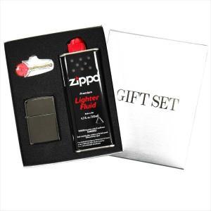 ZIPPO ギフトBOXセット(オイル・フリント付き) レギュラーサイズ チタンコート ブラックアイス 150|zennsannnet