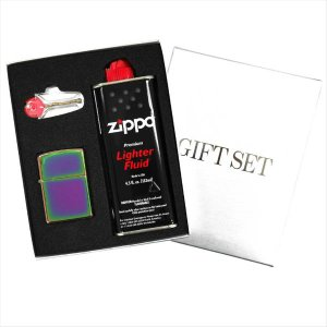 ZIPPO ギフトBOXセット(オイル・フリント付き) レギュラーサイズ チタンコート スペクトラム 151|zennsannnet