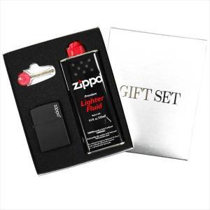 ZIPPO ギフトBOXセット(オイル・フリント付き) レギュラーサイズ マットカラーシリーズ ブラックマット 218ZL|zennsannnet