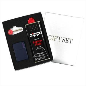 ZIPPO ギフトBOXセット(オイル・フリント付き) レギュラーサイズ マットカラーシリーズ ネイビーマット 239ZL|zennsannnet