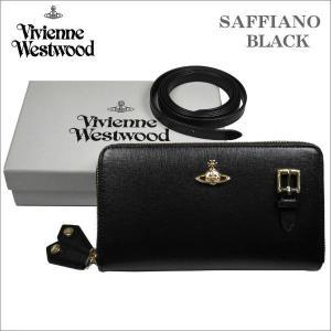 ヴィヴィアン・ウエストウッド Wラウンドジップ式 ポシェット長財布 サフィアーノ ブラック ゴールドオーヴ SAFFIANO No-10|zennsannnet