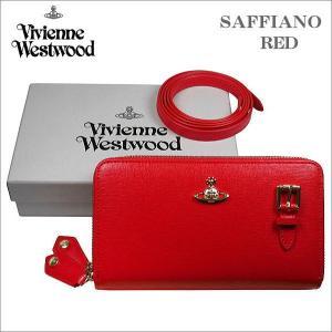 ヴィヴィアン・ウエストウッド Wラウンドジップ式 ポシェット長財布 サフィアーノ レッド ゴールドオーヴ SAFFIANO No-10|zennsannnet
