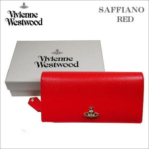 ヴィヴィアン・ウェストウッド ホック式長財布 サフィアーノ  レッド ゴールドオーヴ SAFFIANO  RED No-10|zennsannnet