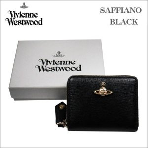ヴィヴィアン・ウェストウッド 小銭入れ財布 サフィアーノ  ブラック ゴールドオーヴ SAFFIANO  BLACK No-10|zennsannnet