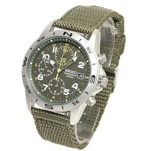 セイコー SEIKO ミリタリー メンズ腕時計 1/20秒クロノグラフ モスグリーンフェイス  SND377R|zennsannnet