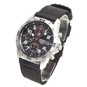 セイコー SEIKO ミリタリーメンズ腕時計 1/20秒クロノグラフ ブラックフェイス SND399P|zennsannnet