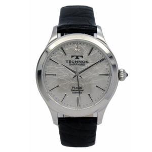 テクノス TECHNOS メンズ腕時計 プラチナ箔文字盤 T1033SS|zennsannnet