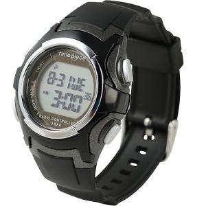 電波ソーラー(デュアルパワー)  デジタル時計 タイムピース Time Piece TPW-001BK|zennsannnet
