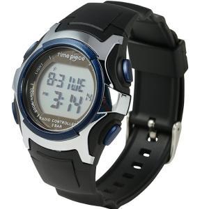 電波ソーラー(デュアルパワー)  デジタル時計 タイムピース Time Piece TPW-001BL|zennsannnet
