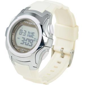 電波ソーラー(デュアルパワー)  デジタル時計 タイムピース Time Piece TPW-001WH|zennsannnet