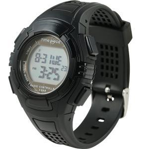 電波ソーラー(デュアルパワー) デジタル時計 タイムピース Time Piece TPW-002BK|zennsannnet