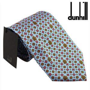 ダンヒル ネクタイ DUNHILL ブルーxピンク系 イタリー製 シルク100% PJ2500R ギフト プレゼント 父の日|zennsannnet