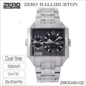 ZERO HALLIBURTON ゼロハリバートン メンズ腕時計 デュアルタイム 5気圧防水 スクエアー型 シルバーブラック ZW004S-02 ギフト プレゼント|zennsannnet