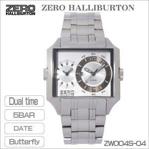 ZERO HALLIBURTON ゼロハリバートン メンズ腕時計 デュアルタイム 5気圧防水 スクエアー型 シルバーホワイト ZW004S-04 ギフト プレゼント|zennsannnet