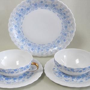 ジョルジュボワイエ(リビエラ ブルー) カップ&ソーサー2セット ケーキ皿1枚|zentrading