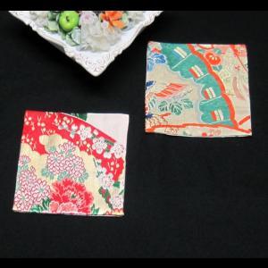 西陣帯コースター2枚組(菊・扇) 西陣織り コースター ティーマット 置物敷き|zentrading