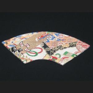 西陣帯 扇型マット中(吉祥紋) 西陣織り テーブルセンター  テーブルマット  置物敷き  額飾|zentrading