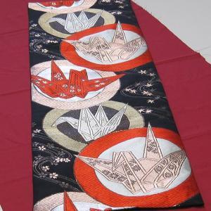 西陣帯 テーブルセンター(折り鶴) 西陣織り テーブルセンター  テーブルランナー  タペストリー|zentrading