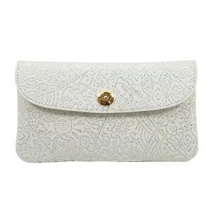 光を纏って美しく輝く スペイン シープレザー FIORINO フィオリーノ かぶせ型 長財布(アイボリー)|zeppinchibahonpo