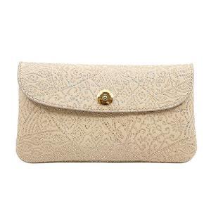 光を纏って美しく輝く スペイン シープレザー FIORINO フィオリーノ かぶせ型 長財布(ベージュ)|zeppinchibahonpo