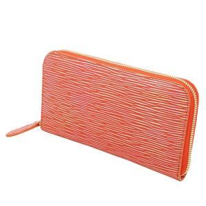 虹色 に輝く 革 光る アルゼンチンキップ 本革 ラウンドファスナー 長財布(オレンジ)|zeppinchibahonpo