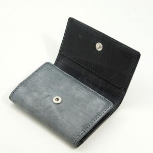英国名皮革 ブライドルレザー 牛革 5連 キーケース 3つ折り カードポケット付 (グレー/ブラック)|zeppinchibahonpo|02
