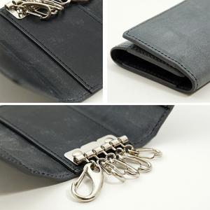 英国名皮革 ブライドルレザー 牛革 5連 キーケース 3つ折り カードポケット付 (グレー/ブラック)|zeppinchibahonpo|04