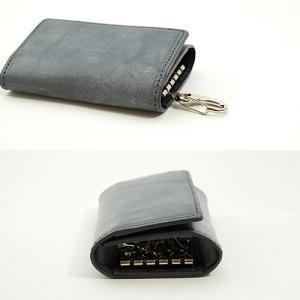 英国名皮革 ブライドルレザー 牛革 5連 キーケース 3つ折り カードポケット付 (グレー/ブラック)|zeppinchibahonpo|05