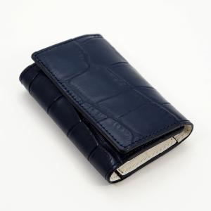クロコダイル風型押し 牛革 5連 キーケース 3つ折り カードポケット付 (紺/白) zeppinchibahonpo