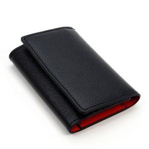 ノブレッサカーフ 5連 キーケース 3つ折り カードポケット付 (黒/赤)|zeppinchibahonpo