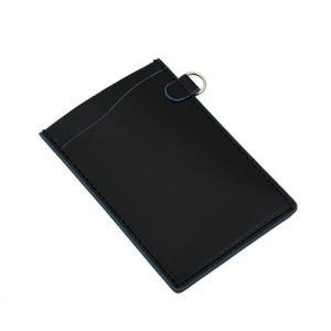 国産 スムース レザー パスケース ブラック(バスコ:ブルー)|zeppinchibahonpo