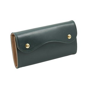ブライドルレザー Wホック 2つボタン かぶせ型 本革 長財布 (グリーン)|zeppinchibahonpo