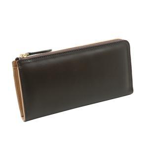 イタリアンカーフ 本革 L字ファスナー型 メンズ 長財布 チョコ|zeppinchibahonpo