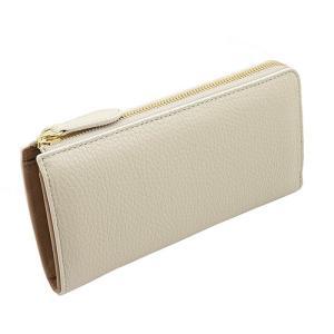 オリジナルレザー Mezzo Shrink L字ファスナー型 本革 長財布 (アイボリー) 着物にも合わせやすい レディース財布|zeppinchibahonpo